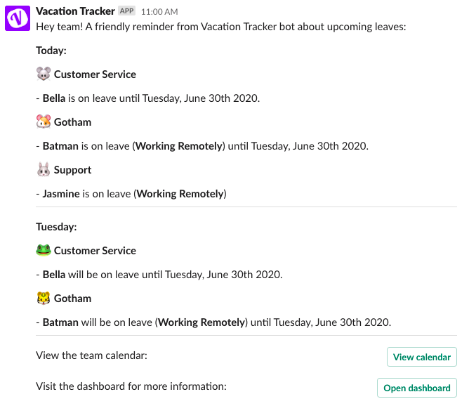 Notifications on Vacation Tracker